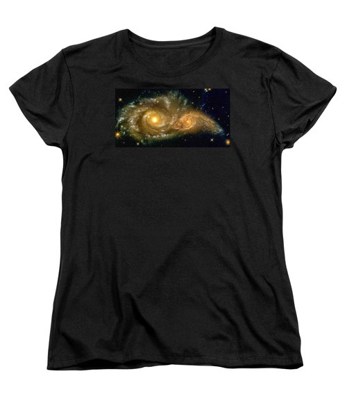 Space Image Spiral Galaxy Encounter Women's T-Shirt (Standard Cut) by Matthias Hauser