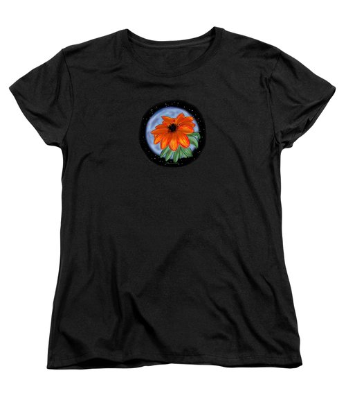 Space Zinnia On Black Women's T-Shirt (Standard Cut) by Jean Pacheco Ravinski