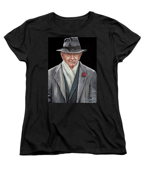 Women's T-Shirt (Standard Cut) featuring the painting Spiffy Old Man by Judy Kirouac