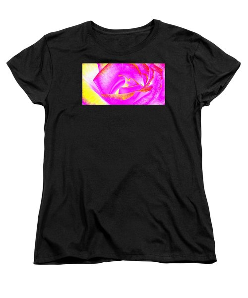 Women's T-Shirt (Standard Cut) featuring the mixed media Splendid Rose Abstract by Will Borden