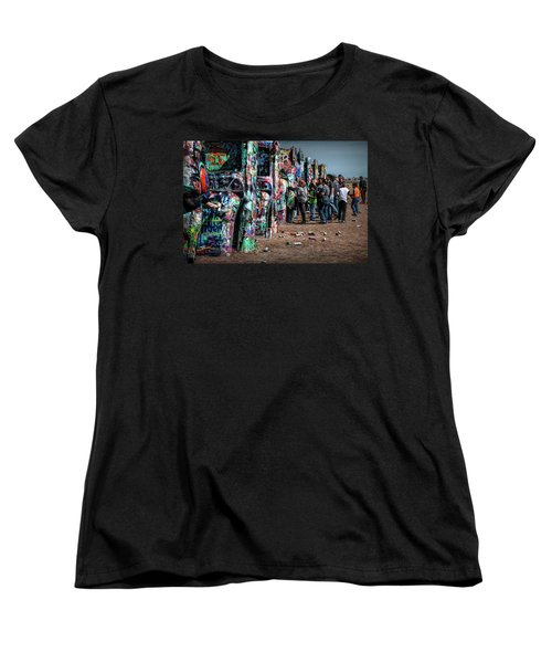 Women's T-Shirt (Standard Cut) featuring the photograph Spray Paint Fun At Cadillac Ranch by Randall Nyhof