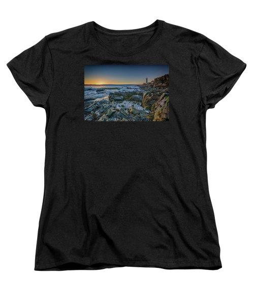 Women's T-Shirt (Standard Cut) featuring the photograph Spring Sunrise At Portland Head by Rick Berk