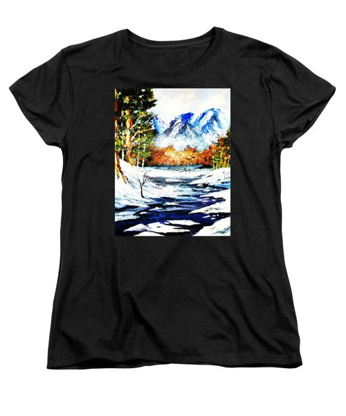 Women's T-Shirt (Standard Cut) featuring the painting Spring Thaw by Al Brown