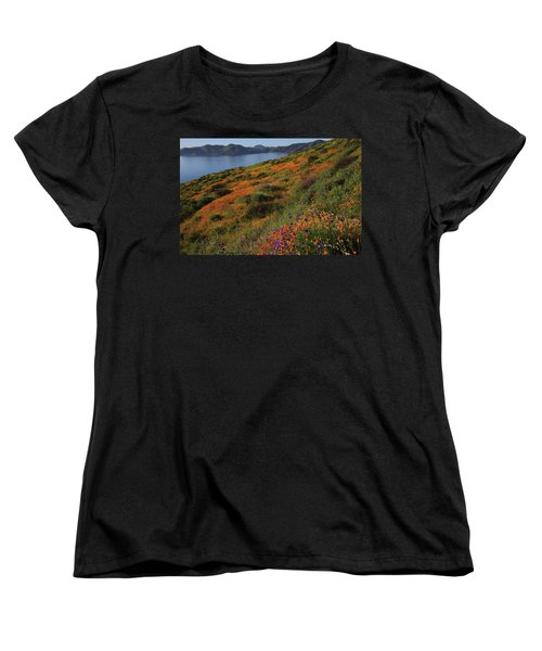 Spring Wildflower Season At Diamond Lake In California Women's T-Shirt (Standard Cut) by Jetson Nguyen