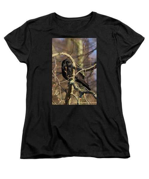Women's T-Shirt (Standard Cut) featuring the photograph Springtime Crow by Bill Wakeley