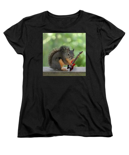 Squirrel Playing Electric Guitar Women's T-Shirt (Standard Cut) by Peggy Collins