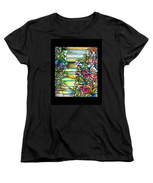 Stained Glass Tiffany Robert Mellon House Women's T-Shirt (Standard Cut) by Donna Walsh
