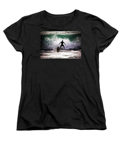 Standby Surfer Women's T-Shirt (Standard Cut) by Jim Albritton