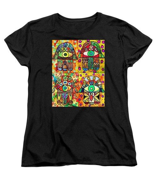 Star Of David Hamsa Women's T-Shirt (Standard Cut) by Sandra Silberzweig