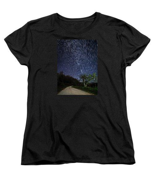 Star Trail Over The Blue Ridge Women's T-Shirt (Standard Cut) by Serge Skiba