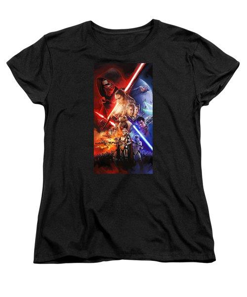 Women's T-Shirt (Standard Cut) featuring the painting Star Wars The Force Awakens Artwork by Sheraz A