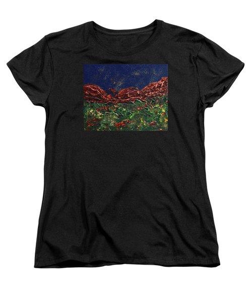 Stars Falling On Copper Moon Women's T-Shirt (Standard Cut) by Donna Blackhall
