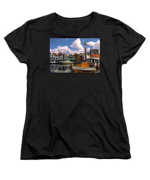 Stavanger Harbor Women's T-Shirt (Standard Cut) by Sally Weigand