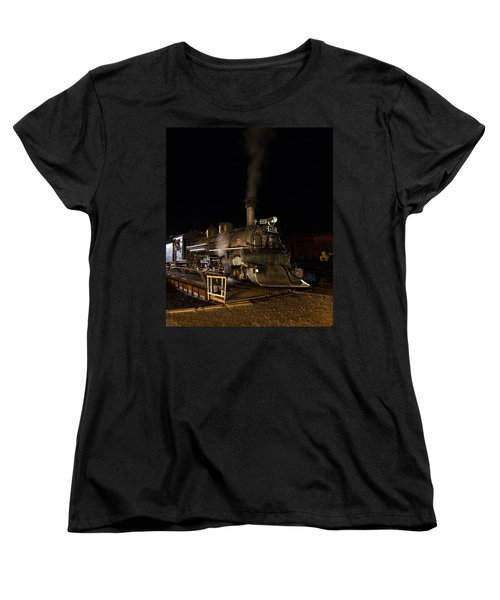 Locomotive And Coal Tender On A Turntable Of The Durango And Silverton Narrow Gauge Railroad Women's T-Shirt (Standard Cut) by Carol M Highsmith