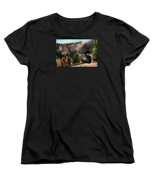 Women's T-Shirt (Standard Cut) featuring the photograph Steam Through The Rock Formations by Ken Smith