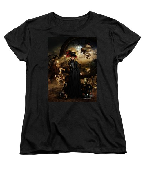 Women's T-Shirt (Standard Cut) featuring the digital art Steampunk Time Traveler by Shanina Conway
