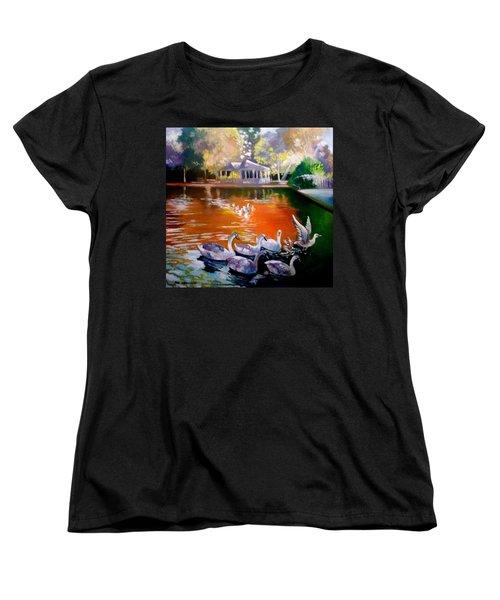 Women's T-Shirt (Standard Cut) featuring the painting Stephens Green Dublin Ireland by Paul Weerasekera