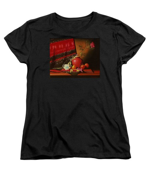Still Life With Red Vase. Women's T-Shirt (Standard Cut) by Gene Gregory