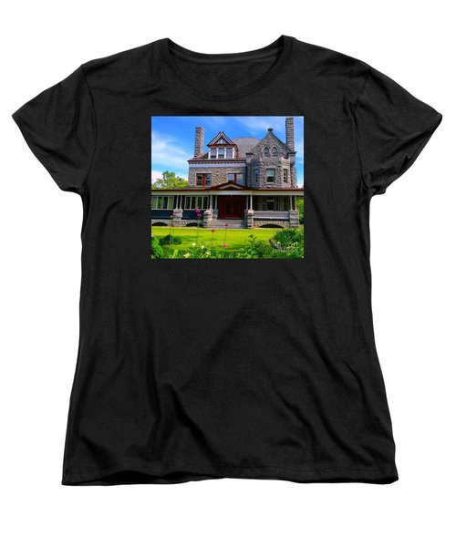 Women's T-Shirt (Standard Cut) featuring the photograph Stone Mansion Garden by Becky Lupe