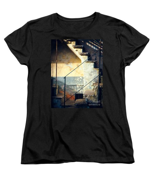 Women's T-Shirt (Standard Cut) featuring the photograph Stone Steps Outside An Old House by Silvia Ganora