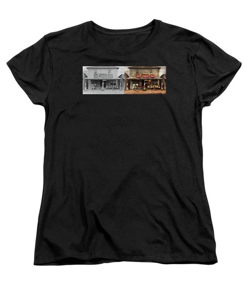 Women's T-Shirt (Standard Cut) featuring the photograph Store - Grocery - Mexicanita Cafe 1939 - Side By Side by Mike Savad
