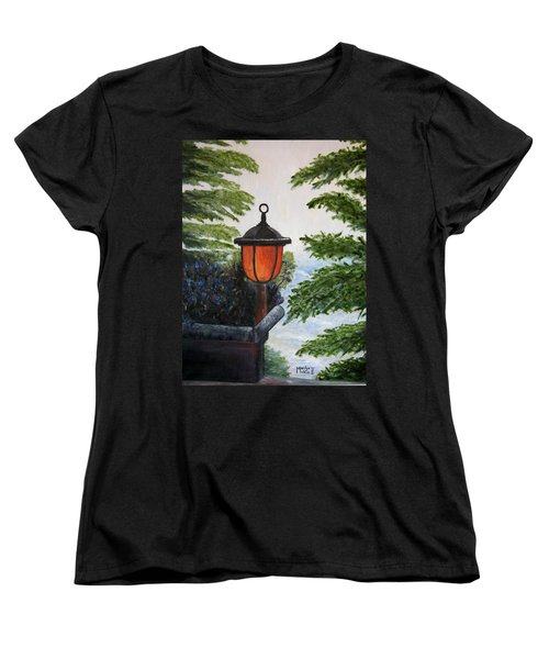 Women's T-Shirt (Standard Cut) featuring the painting Storm On Lake Of The Woods by Marilyn  McNish