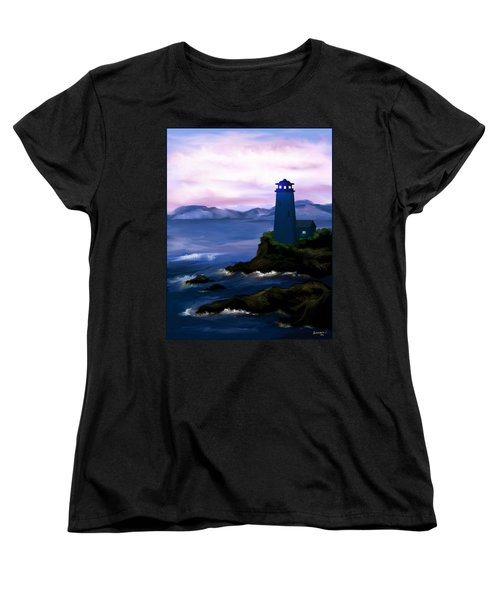 Women's T-Shirt (Standard Cut) featuring the painting Stormy Blue Night by Susan Kinney