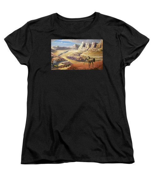 Women's T-Shirt (Standard Cut) featuring the painting Stormy by Loxi Sibley