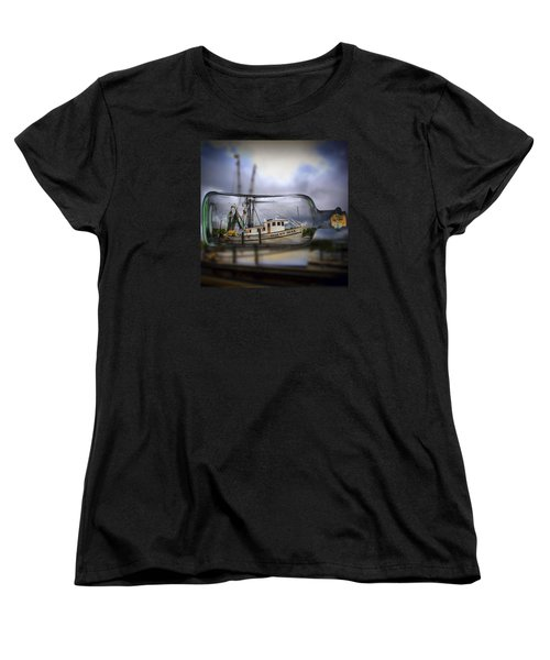 Women's T-Shirt (Standard Cut) featuring the photograph Stormy Seas - Ship In A Bottle by Bill Barber