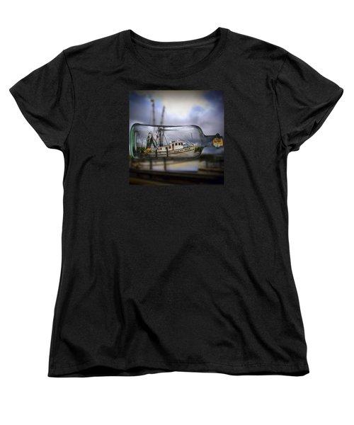 Stormy Seas - Ship In A Bottle Women's T-Shirt (Standard Cut)