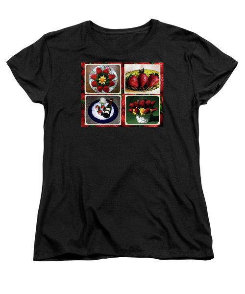Women's T-Shirt (Standard Cut) featuring the photograph Strawberry Collage by Sally Weigand