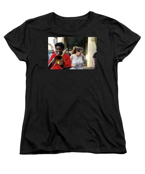 Women's T-Shirt (Standard Cut) featuring the photograph Street Jazz by KG Thienemann