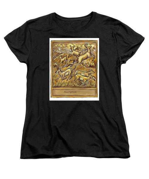Study For Pronghorn And Deer Sculpture Women's T-Shirt (Standard Cut) by Dawn Senior-Trask