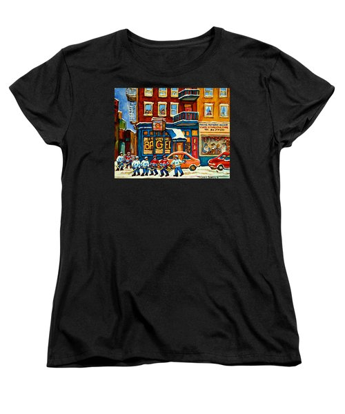 St.viateur Bagel Hockey Montreal Women's T-Shirt (Standard Cut) by Carole Spandau