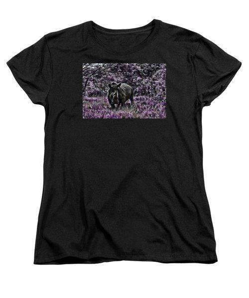 Styled Environment-the Modern Trendy Rhino Women's T-Shirt (Standard Cut) by Douglas Barnard