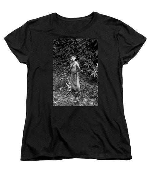 Women's T-Shirt (Standard Cut) featuring the photograph Sucua Kids 898 by Al Bourassa