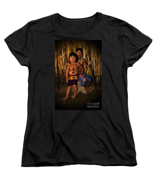 Women's T-Shirt (Standard Cut) featuring the photograph Sucua Kids 901 by Al Bourassa