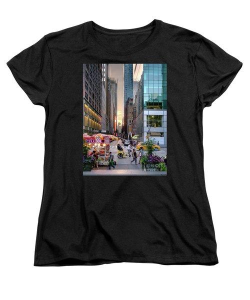 Women's T-Shirt (Standard Cut) featuring the photograph Summer Evening, New York City  -17705-17711 by John Bald