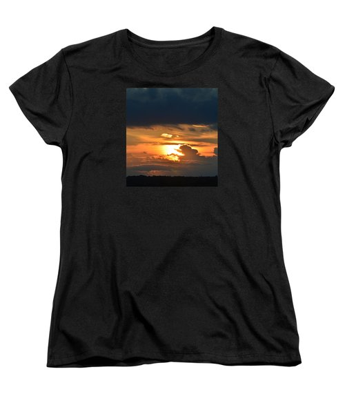 Women's T-Shirt (Standard Cut) featuring the photograph Sun And Dark Clouds  by Lyle Crump