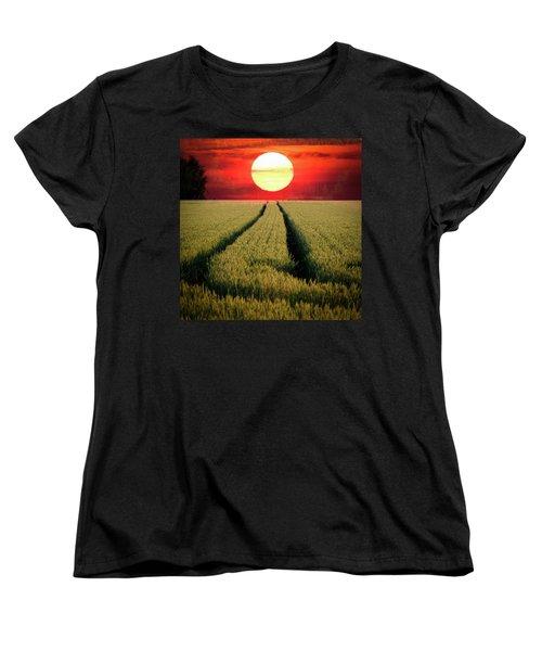 Sun Burn Women's T-Shirt (Standard Cut) by Teemu Tretjakov