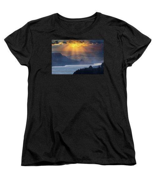Sun Rays Over Columbia River Gorge During Sunrise Women's T-Shirt (Standard Fit)