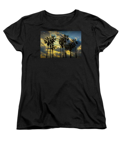 Women's T-Shirt (Standard Cut) featuring the photograph Sunbeams And Palm Trees By Cabrillo Beach by Randall Nyhof