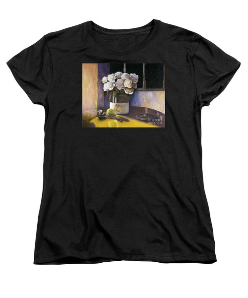 Women's T-Shirt (Standard Cut) featuring the painting Sunday Morning And Roses Redux by Marlene Book