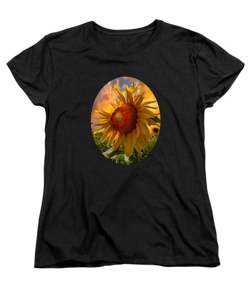 Sunflower Dawn In Oval Women's T-Shirt (Standard Cut)