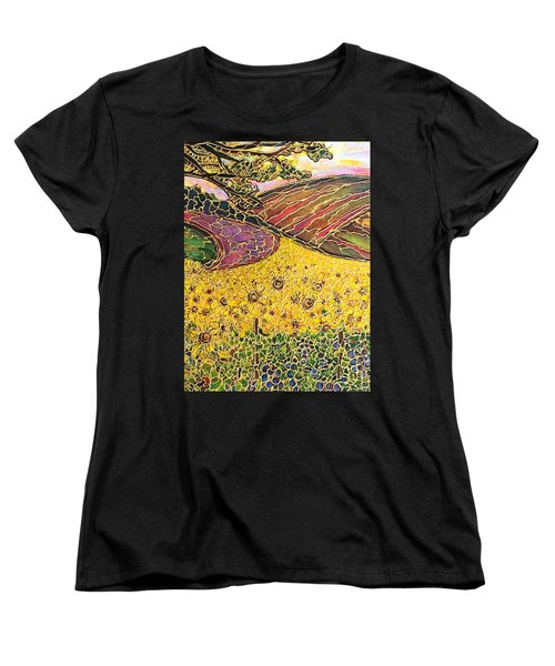 Women's T-Shirt (Standard Cut) featuring the painting Sunflower Fields by Rae Chichilnitsky