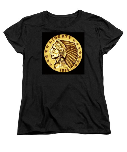 Sunflower Gold Quarter Eagle Women's T-Shirt (Standard Cut) by Fred Larucci