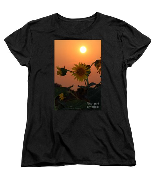 Women's T-Shirt (Standard Cut) featuring the photograph Sunflowers At Sunset by Kathy  White