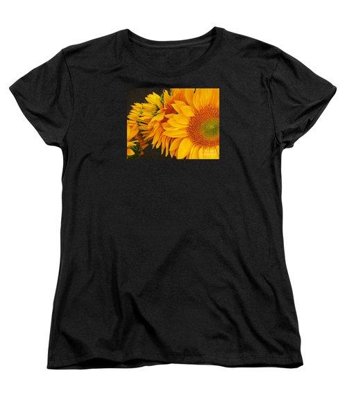 Sunflowers Train Women's T-Shirt (Standard Cut) by Jasna Gopic