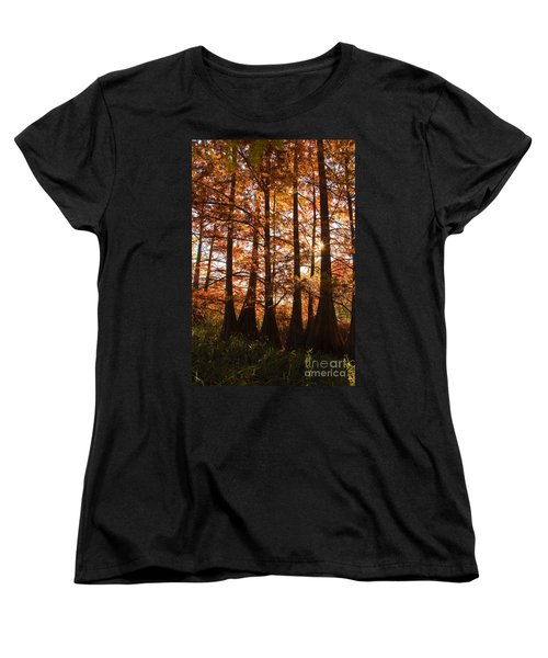 Women's T-Shirt (Standard Cut) featuring the photograph Sunlit Trees At Lake Murray by Tamyra Ayles
