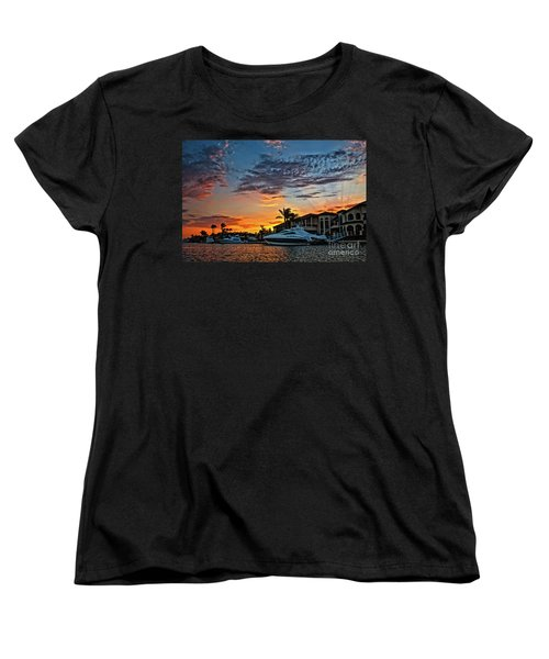 Sunrays Sunset Over Huntington Harbour Women's T-Shirt (Standard Cut) by Peter Dang